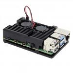 Raspberry Pi 4 - Aluminum Passive Cooling Case with Dual Fans - Black