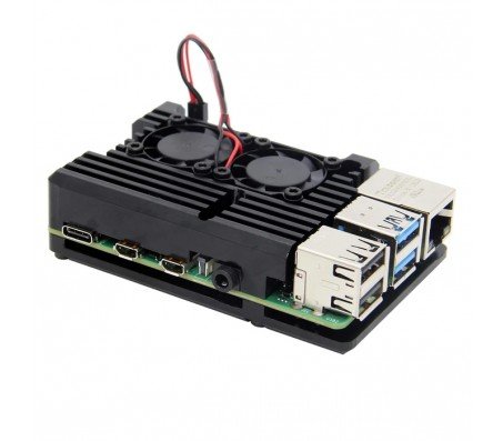 Raspberry Pi 4 - Aluminum Passive Cooling Case with Dual Fans - Black