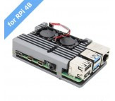 Raspberry Pi 4 - Aluminum Passive Cooling Case with Dual Fans - Grey