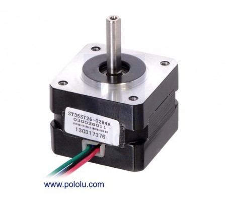 Stepper Motor: Bipolar, 200 Steps/Rev, 35×26mm, 7.4V, 0.28 A/Phase