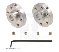 Universal Aluminum Mounting Hub for 6mm Shaft Pair, 4-40 Holes
