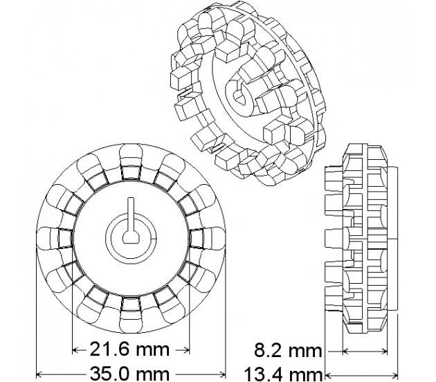 wheel 42 x19mm  pair