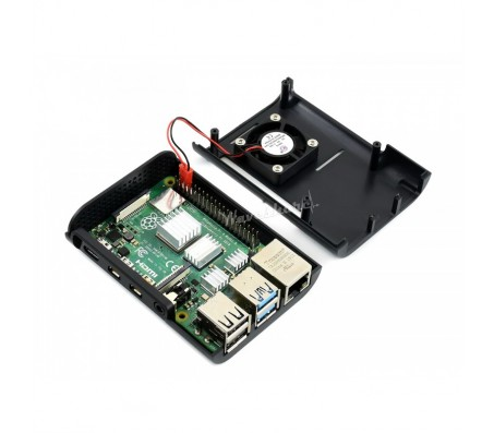 Black ABS Case for Raspberry Pi 4 with Cooling Fan