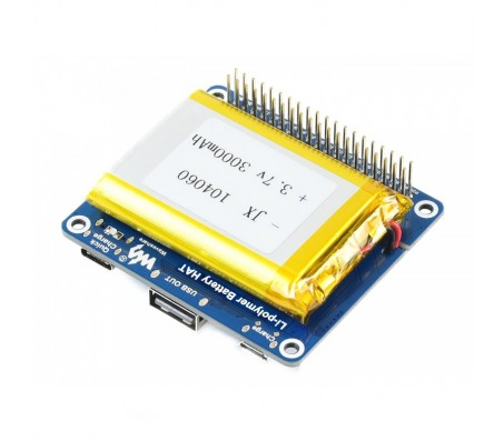 Li-polymer Battery HAT, 5V Output, Quick Charge